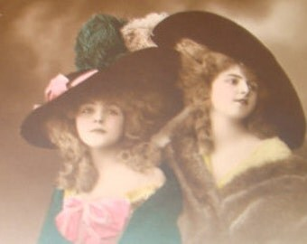 SALE Hand Tinted RPPC of 2 Pretty Ladies Wearing Fancy Hats # 1