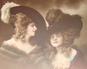 SALE Vintage Hand Tinted RPPC of Two Pretty Ladies Wearing Hats # 4