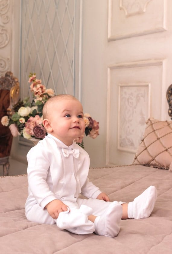 baby boy christening outfit toddler white romper cotton baby