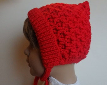 Baby's Red Knitted Pixie Hat