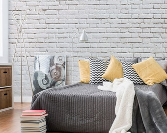 White Brick Wall Etsy - White brick interiors