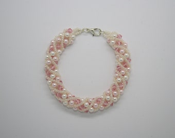 Pink and white Swarovski crystal and pearl bracelet