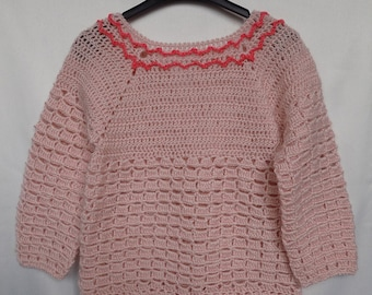 Baby Knitted Jumper Handknit Sweater Baby Knitwear Crochet Girl Sweater Woolen Jumper Baby Pullover Little Girl Sweater Warm Baby Clothes