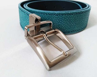 Blue high-end reversible leather belt