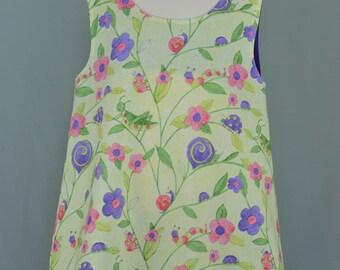 Girls summer dress,Girls yellow dress,Little girls dress,Summer dress,Yellow dress,Bug print dress,A-line dress,Girl's sundress