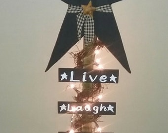 Wooden Live Laugh Love Lighted Star Post Home Decor Country Primitive Decor Rustic Decor Farmhouse Decor