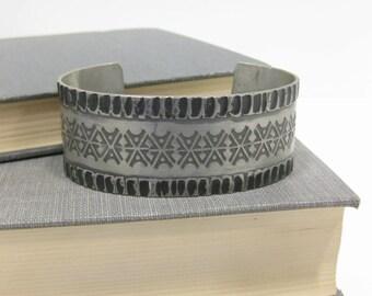 Vintage Signed Rolf Buodd Norwegian Modernist Pewter Cuff Bracelet