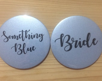 Something Blue for the bride pocket mirror 77mm. Bride gift. Something old something new something borrowed something blue