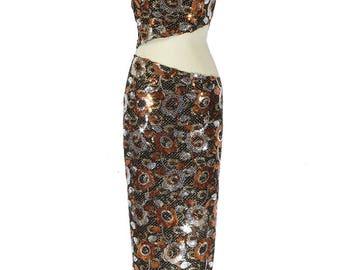 Abito due pezzi fantasia paillettes - Two-piece dress fancy sequins - Skaracina