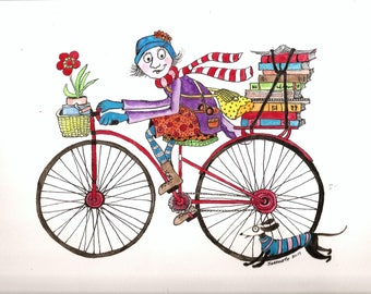 Skinny girl on a bike with her dog - Original watercolor 12x9 - Brighten any girl's room with this fun painting.