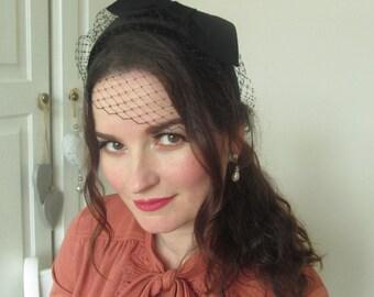 Vintage Inspired Black velour Headband