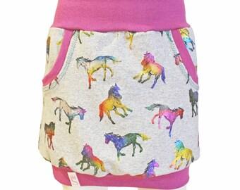 Girls Skirt, Mini-Skirt, Bubble Skirt, Horses, 5T, 6T, 7T