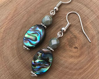 Abalone Dangle Earrings    Beach Earrings    Boho Chic Earrings    Shell Earrings