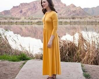 Mustard Button Down Dress