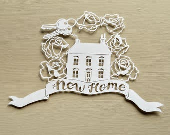 House / New Home Handcut Personalised Papercut, New House, First Home, Keys, Moving House, Gift, Present, Art, Handmade, Paper Cut