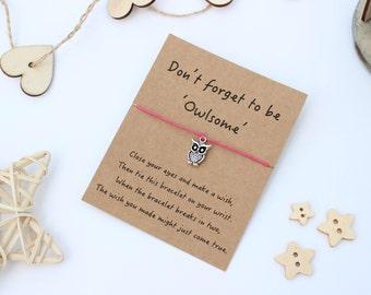 Owl Wish Bracelet, Owl Bracelet, Owl Friendship Bracelet, Wish Bracelet, Owl Jewellery, Owl Charm Bracelet, Friendship Bracelet, Owl Gift