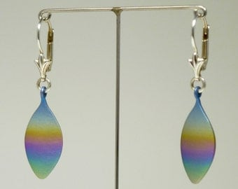 Anodized titanium and silver earrings. Pair of swinging anodized titanium silver 925 earrings. Titanium silver jewelry.