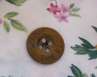 Vintage Metal Winnie the Pooh Button