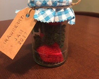 Knitted Strawberries in jam jar, knitted strawberry jam, knitted food