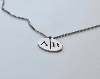 Locket Initial Necklace - Circle Initial Jewelry - Personalized Letter Necklace - Medallion Necklace - Couple Necklace - Mother's Day Gift