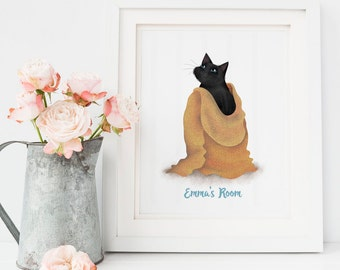 Cat Illustration, Cat Lover Gift, Cat Pictures, Wall Art Prints, Personalised Gift, Gifts for Her, Illustration Print, I Like Cats, Wall Art