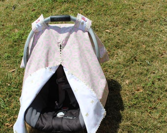Car Seat Canopy With Front Opening and Velcro Straps
