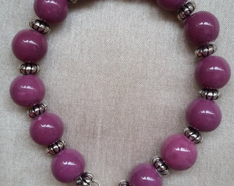 Mauve Ceramic Bead Bracelet Silver Plated Clasps and Connectors