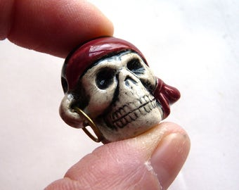 1 Porcelain Pirate Skull Bead with Bandanna and Earring - Fired and Glazed