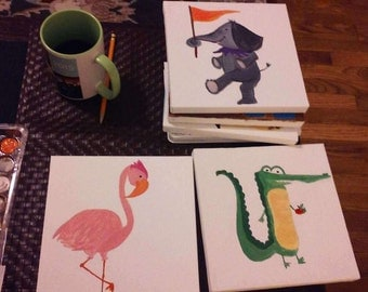 Customized handpainted paintings for nursery or children's room.