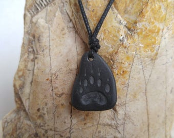 Black Bear Print Carved Stone Necklace