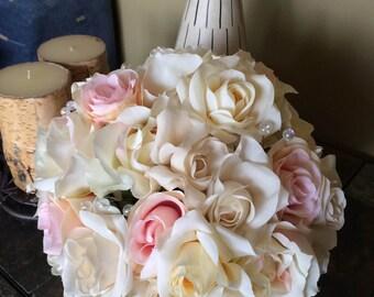 Soft romantic vintage inspired rose bouquet