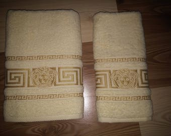 New embroidered inspired by versace towel ivory color