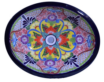 Talavera Ceramic  Bathroom Sink Home  Kitchen Patio Pottery Decor Mexican Hand Made Hand Painted