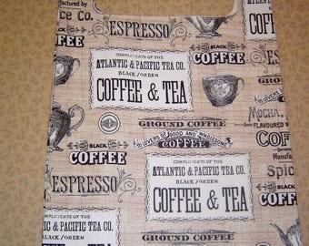 "Reusable Grocery Shopping Bag ""Coffee"" Design"