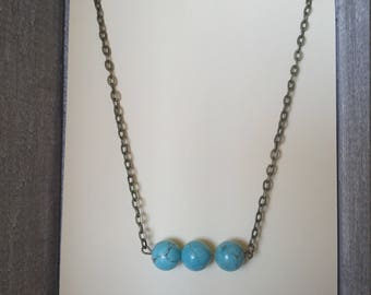 Turquoise Bead Bar Necklace, Bronze