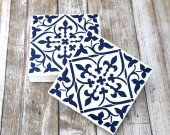 Ceramic Coasters, Set of 4 Coasters, Moroccan Tile Coaster, Housewarming Gift