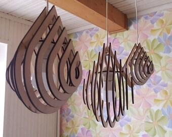 "Wooden lamp ""Water Drops"". 3pcs small 23 cm. middle 29cm big 33cm."