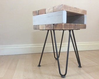 Unique reclaimed hardwood pallet bedside table with hairpin legs