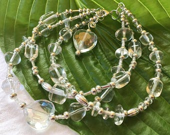 Silver heart bracelet: multi strand, chunky hearts, glass bead bracelet, summer wedding, boho style, chunky bracelet, boho bride
