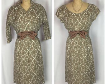 Vintage 1950's Custom Tailored Brown And Ivory Baroque Mad Men Secretary Dress Suit. S/M