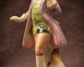 Porcelain Victorian Man Figurine Purple Coat Japan
