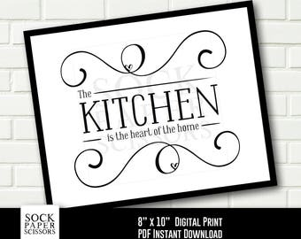 Typography Printable, The Kitchen is the heart of the home, Kitchen sign, kitchen wall art, Printable Print PDF Digital Download, Sku-RHO117