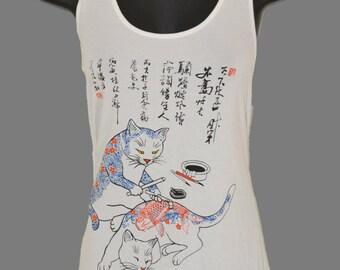 Asian Tattoo Cat printed Graphic Singlet Tank top
