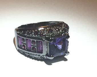 Cubic Zirconia Purple Gemstone Silver Ring Size 8