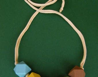 Wooden beads necklace in pastel colours