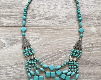 Turquoise Beaded Multistrand Necklace with Silverwork.