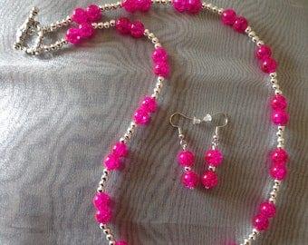 Pink necklace beaded necklace jewellery set pink earrings handmade necklace earrings