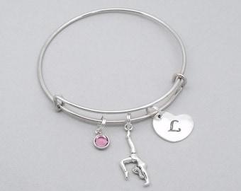 Love gymnastics charm bracelet with engraved heart initial | gymnast bracelet | gymnastics lover bracelet | gymnastics jewelry | gift