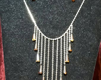 Gold and crystal drop necklace and Earring set