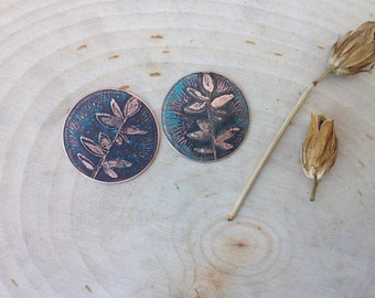 Pair of Etched copper floral jewelry components